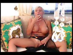 Busty blonde touching her sexy body tube porn video