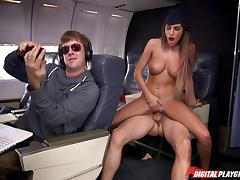 Sexy stewardess with a juicy pussy fucked on the plane porn tube video