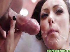 Brunette stunner gets a cumshot after fucking tube porn video