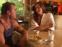 Sex after breakfast with a gorgeous girl in a bathrobe porn tube video