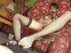 Masked Asian submissive jerked off by a cute bikini girl