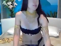 Brunette masturbates