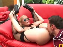 Hot blonde cop seduces him outdoors and they fuck