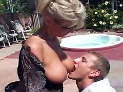 Busty blonde MILF porn tube video