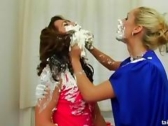 Euro girls empty cans of shaving cream on each other tube porn video