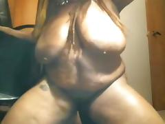 Black BBW with huge tits goes crazy on dildo screaming