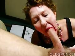 Super cute older lady loves to suck cock and eat cum porn tube video