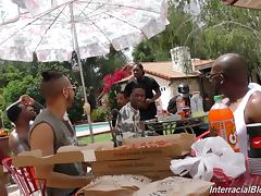 Stella Cox shows up at a pool party to suck off black dicks porn tube video