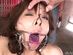 Cock and cum whore opens her Asian mouth for hot loads