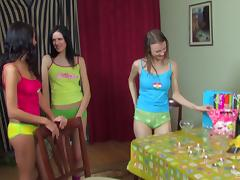 Teens at a sexy slumber party lick cunt in a sexy circle porn tube video