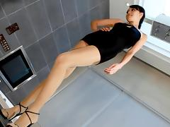 Asian pantyhose legs porn tube video