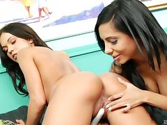 Lesbian group sex on a football Sunday with beauties