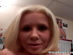 Blonde whorewith small tits gives