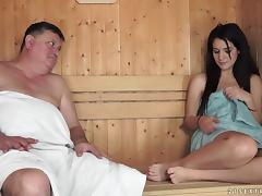 Fat lover with a short pecker still brings her the required pleasure