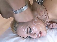 Blonde Gets Her Face covered in Cum porn tube video