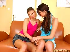 Buxom lesbian couple drill each other's cunts with toys on the couch porn tube video
