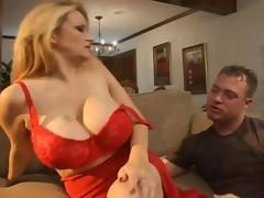 Busty blonde enjoys a satisfactory shagging on the couch
