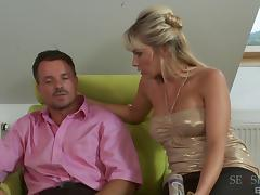 She's the glamorous blonde chick whose anus is ready for the penis