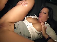 BumsBus - German hottie Sina Velvet gets facial in the car porn tube video