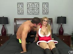 MILF dressed as Santa's helper gives him pussy for Christmas