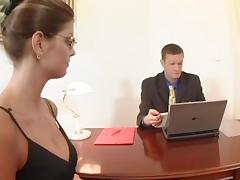 Office, Boss, Bra, Couple, Cowgirl, Fucking