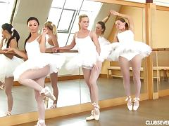 Ballerinas in white pantyhose dancing and fucking toys porn tube video