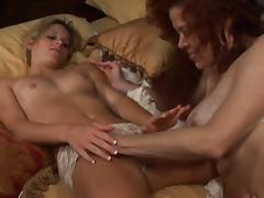Vivacious lesbian cougar with big boobs getting her pussy fingered