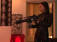 Aimi is wearing some sexy leather clothes with a hole for drilling!
