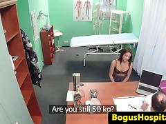 Orally pleasured patient pussyfucked by doctor