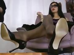Nylon feet humiliation