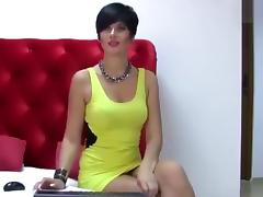 Brunette Poochie in yellow dress porn tube video
