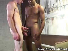 Horny white guy strokes the chocolate cock of his best friend