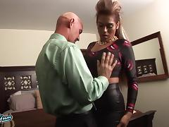 Big tits tranny slut and a man in a suit fucking in bed