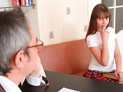 TrickyOldTeacher - Sexy sexy student in plaid sucks teachers cock and fucks for grade