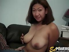 Busty Oriental wench slides a throbbing meat pole in her juicy snatch porn tube video