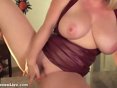All Natural Busty Blonde Maggie Green gets off in Lingerie! porn tube video