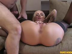 Kayla in Hot tattooed babe swallows cumshot - FakeAgentUk