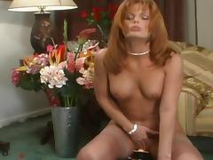 Salacious cougar with big boobs enjoying a hardcore vibrator fuck