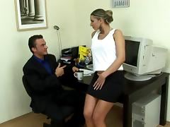 Nice secretary uses her pussy to relax her stressed out boss porn tube video
