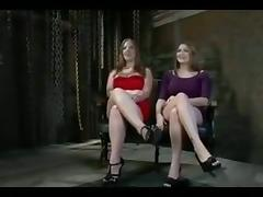 Two big boobed girls are humiliated in public porn tube video
