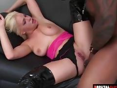 Super hot thigh high latex boots on an interracial anal slut