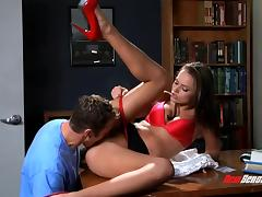 Sexy babe with a flawless body sucks a big cock then goes on her knees for a doggystyle pounding