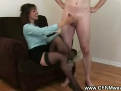 CFNM mature practice her hand skills