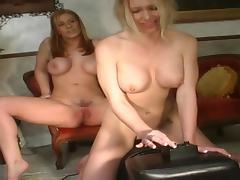 Buxom lesbian with a sexy ass enjoying a hardcore vibrator fuck