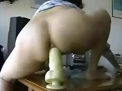 hubby films his wife  and helps her with a big toy (anal) porn tube video