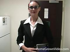 Nerdy chick with huge glasses and the pulsating boner