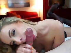 Blonde stockings sucking cock liking his cum