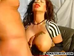 Busty amateur mom foursome with cum on tits tube porn video