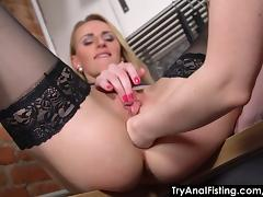 Try Anal Fisting - Lesbo ass fisting in a kitchen porn tube video