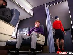 Slutty tattooed blonde stewardess fucking in first class porn tube video